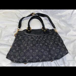Louis Vuitton Black Denim Neo Cabby MM Bag